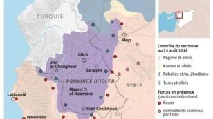 Contrôle des territoires et positions des forces en présence dans la région d'Idleb en Syrie