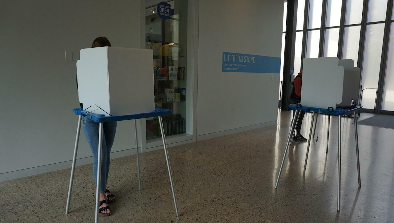 Students voting in the lobby of the University of Michigan Museum of Art.