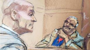 El abogado de la defensa, William Purpura, se reune con el testigo protegido por el Gobierno, Jesús Zambada, en el tribunal federal de Brooklyn, Nueva York, Estados Unidos, el 19 de noviembre de 2018.