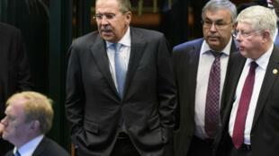 Le ministre russe des Affaires étrangères, Sergueï Lavrov, lors de précédents pourparlers à Lausane, le 15 octobre, en Suisse.