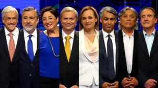 Los candidatos presidenciales chilenos posan para una foto antes de un debate televisado en vivo en Santiago de Chile el 6 de noviembre de 2017.