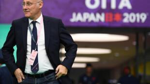 Bernard Laporte, le président de la Fédération française de rugby, le 20 octobre 2019 à Oita au Japon.