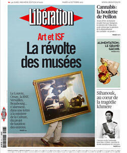 """Art and wealth tax: The museums' revolt"", reads October 16 headline of French daily Libération."
