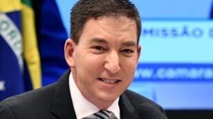 Le journaliste américain Glenn Greenwald, fondateur et rédacteur en chef du site web The Intercept, devant la Commission des droits de l'homme à Brasilia, le 25 juin 2019.
