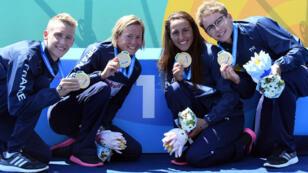 L'équipe de France d'eau libre a remporté le relais mixte 5 km, jeudi 20 juillet.