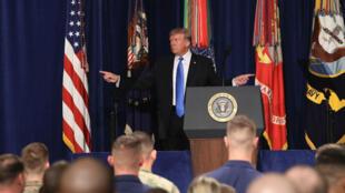Donald Trump, le 21 août 2017, lors d'un discours prononcé depuis la base de Fort Myer, en Virginie.