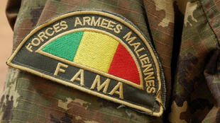 (FILE PHOTO) Detail of the badge of a member of the Malian Army (Fama), in Anderamboukane, in Menaka region, on March 22, 2019.