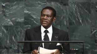 Teodoro Obiang aquí en su discurso en las Naciones Unidas el 21 de septiembre de 2017. Obiang ha gobernado con mano dura Guinea Ecuatorial por 39 años