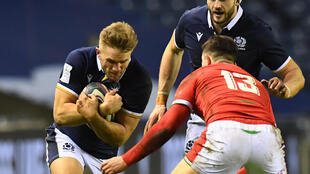 Scotland centre Chris Harris (left) in Six Nations action against Wales