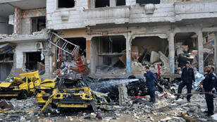 Centre de Homs touché par une série d'attentats meurtriers, le 21 février 2016.