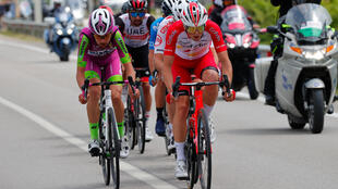 Cofidis rider France's Victor Lafay in red won Saturday's Giro stage