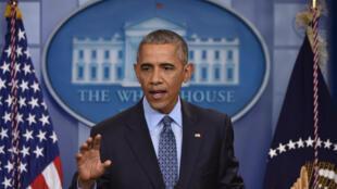 الرئيس الأمريكي باراك أوباما خلال آخر ندوة صحفية له