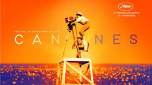 La photo originale dont s'inspire l'affiche du festival de Cannes2019 montre la cinéaste Agnès Varda durant un tournage.
