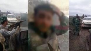 Syrian mercenaries exchange fire with Armenian soldiers in Nagorno-Karabakh at the beginning of October. In the centre, a young Syrian films himself on the frontline during a bombardment near Horadiz. Screen captures.