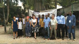 Le groupe des intellectuels africains présents aux Ateliers de la pensée : Achille Mbembe, Felwine Sarr, Alain Mabanckou, Abdourahmane Waberi, Françoise Vergès