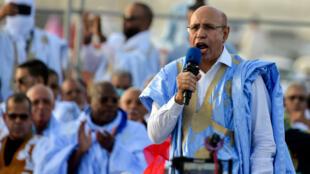 Le candidat du pouvoir, Mohamed Cheikh Ghazouani, lors d'un meeting à Nouakchott le 20juin2019.