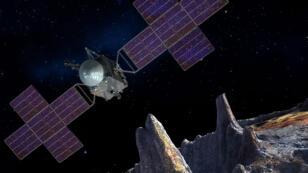 Représentation du vaisseau de la NASA arrivant sur 16 Psyche en 2030.