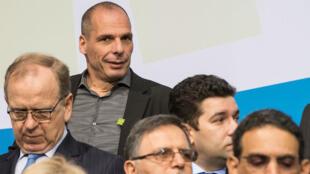 Yanis Varoufakis, ministre grec des Finances, lors d'une réunion du FMI le 18 avril 2015.
