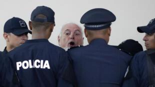 """""""No hay justicia en Panamá"""", grita Martinelli al ser enviado a juicio. 26 de noviembre de 2018."""