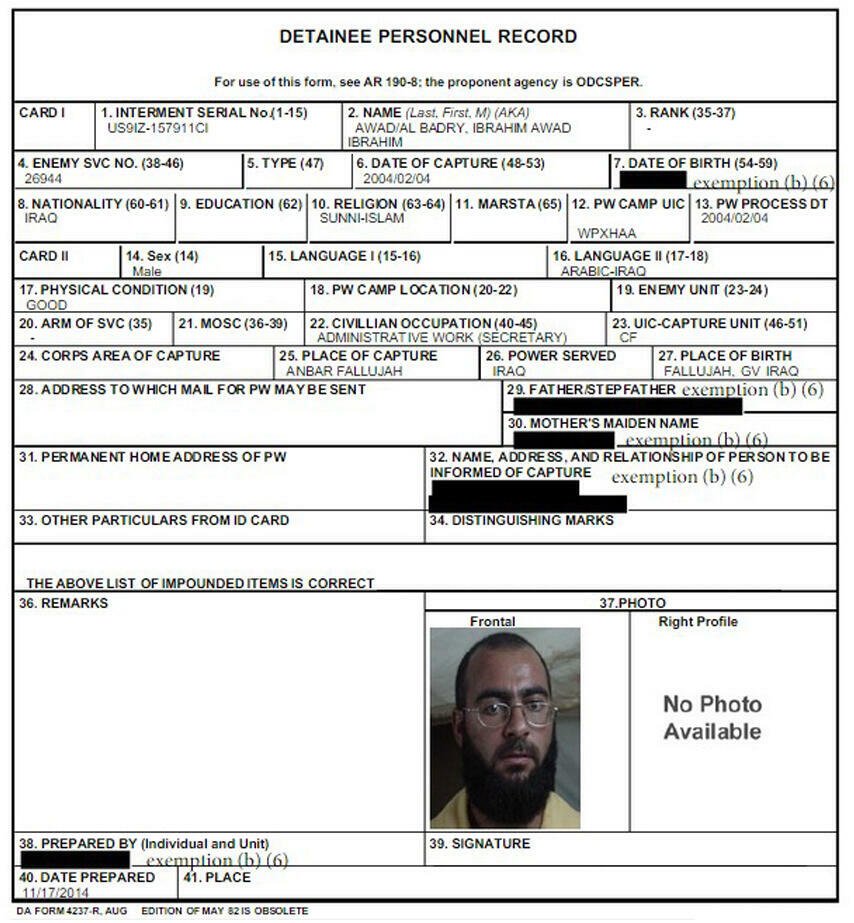 US detainee personnel form of Abu Bakr al-Baghdadi
