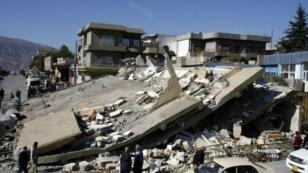 جانب من الدمار الذي خلفه الزلزال في دربنخان في إقليم كردستان العراق 13 تشرين الثاني/نوفمبر