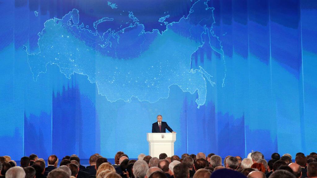 El presidente ruso Vladimir Putin se dirige a la Asamblea Federal, en Moscú, Rusia, el 1 de marzo de 2018.