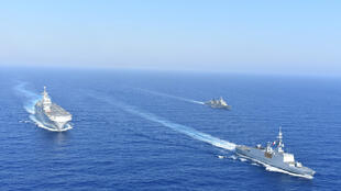 FILE PHOTO: Greek and French vessels sail in formation during a joint military exercise in Mediterranean sea, in this undated handout image obtained by Reuters on August 13, 2020.