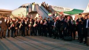 منتخب إيران لدى وصوله إلى موسكو، في 5 حزيران/يونيو 2018.