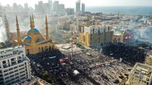 Vue aérienne d'affrontements entre manifestants et forces de sécurité dans le centre ville de Beyrouth au Liban le 8 août 2020