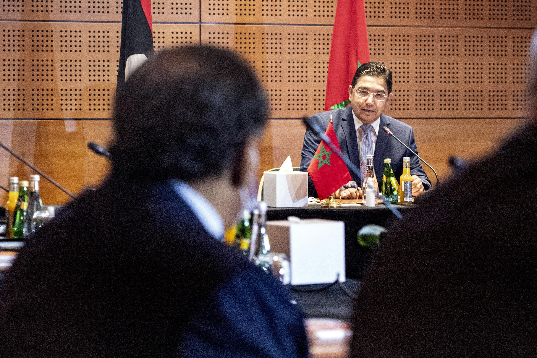 وزير الخارجية المغربي ناصر بوريطة الذي ترأس المحادثات بين طرفي النزاع في ليبيا بمدينة بوزنيقة الساحلية، جنوبي الرباط. 6 سبتمبر/أيلول 2020.