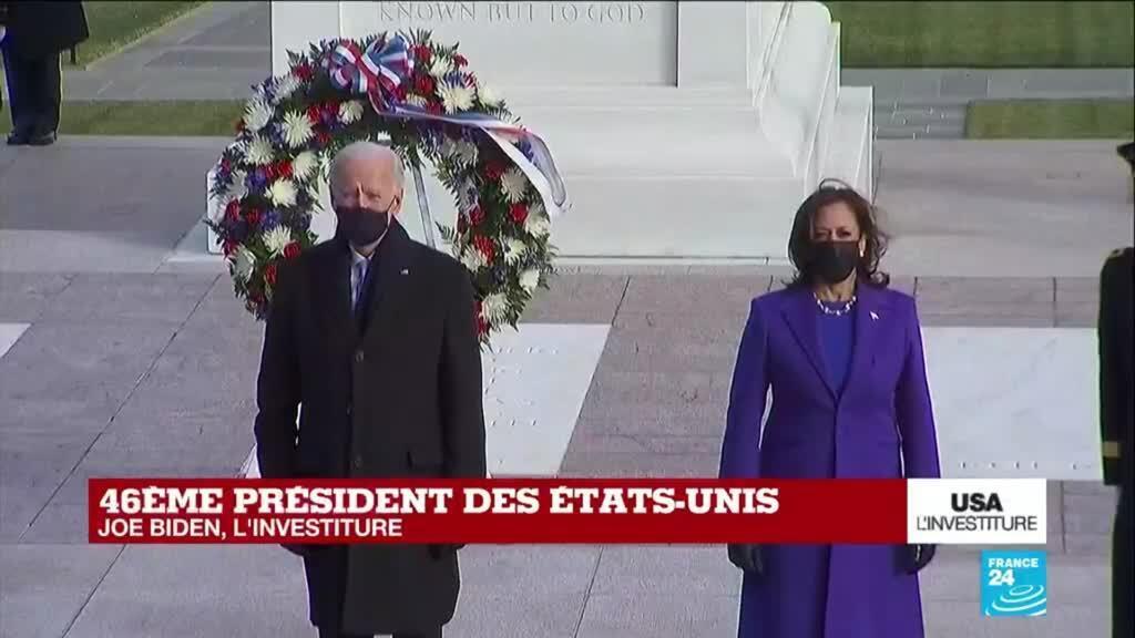 2021-01-20 20:43 Investiture de Joe Biden : cérémonie au cimetière national d'Arlington en présence d'anciens présidents