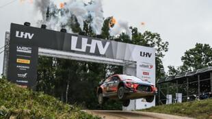 Leap of faith: Ott Tanak of Estonia takes the lead in the Rally of Estonia on Saturday