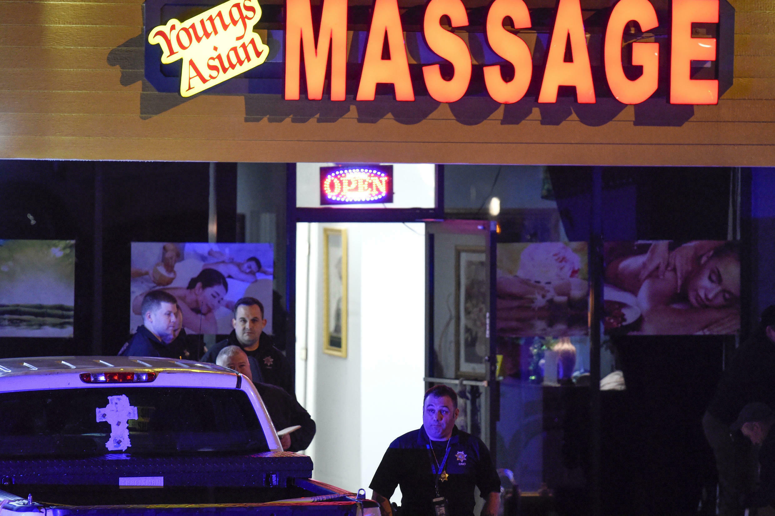Authorities are investigating a deadly shooting at a massage parlor late Tuesday, March 16, 2021, in Acworth, Ga.