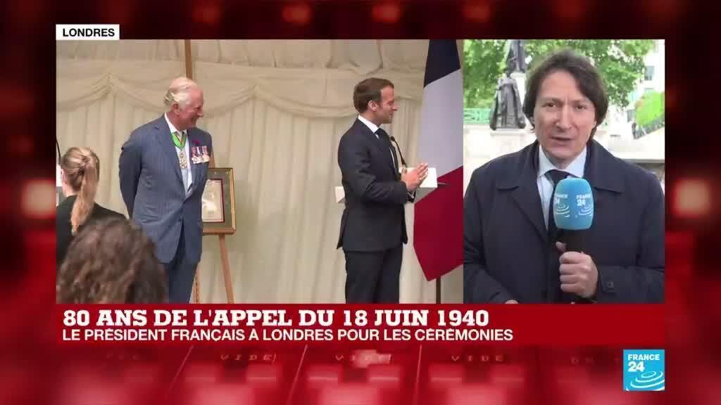 """2020-06-18 16:00 Appel du 18 juin : Macron remet la Légion d'honneur à Londres, """"berceau de la France libre"""""""