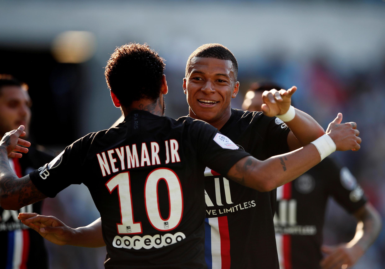Neymar et Kylian Mbappé lors de la victoire 9-0 en match amical contre Le Havre, le 12 juillet 2020.
