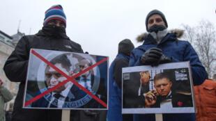 Des manifestants conspuent le premier ministre slovaque Robert Fico, le 2 mars 2018, à Bratislava.