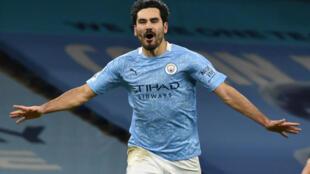 Manchester City midfielder Ilkay Gundogan celebrates scoring against Tottenham