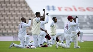 West Indies players take a knee at the Ageas Bowl