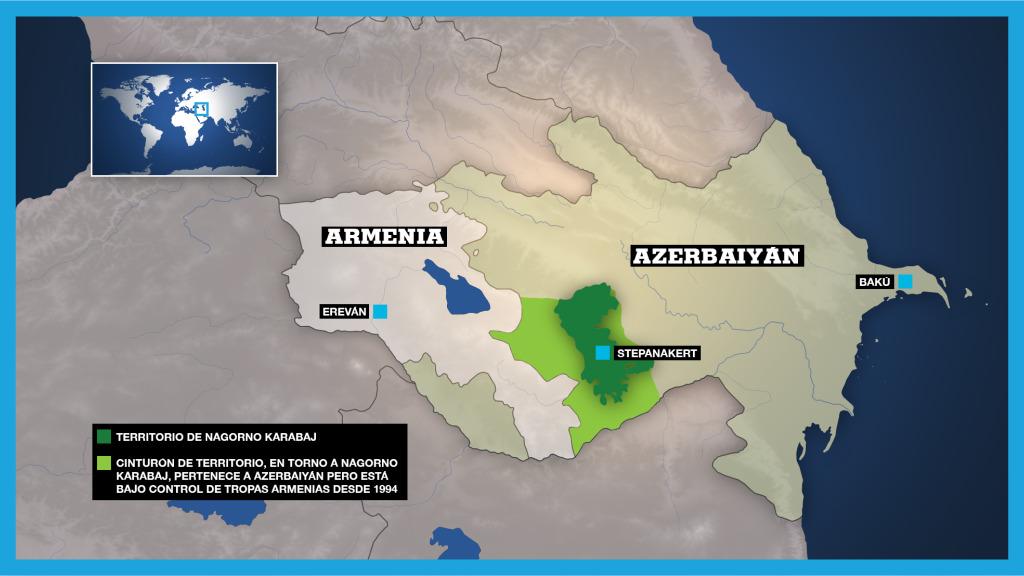 En la imagen aparece el enclave de Nagorno Karabaj, situado en medio del territorio de Azerbaiyán y origen del conflicto entre este país y Armenia.