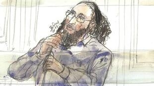 Croquis d'Abdelkader Merah dans le box des accusés, le 13octobre2017, à la cour d'assises de Paris.