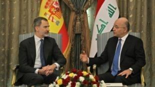 الرئيس العراقي برهم صالح يستقبل ملك إسبانيا فيليبي السادس في العاصمة بغداد