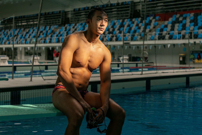 Le Birman Win Htet Oo avant un entraînement au Centre aquatique de Melbourne, 29 avril 2021