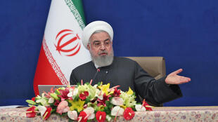 الرئيس الإيراني حسن روحاني يتحدث خلال الاجتماع الأسبوعي للحكومة في الثالث من شباط/فبراير 2021.