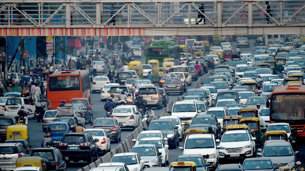Embouteillages à New Delhi, le 15 octobre 2015.