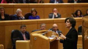 La vicepresidenta de España, Soraya Sáenz de Santamaría, pronunció un discurso en el Senado, Madrid, el 26 de octubre 2017.