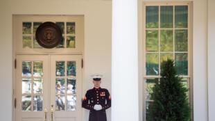 عنصر من سلاح البحرية يحرس الجناح الغربي في البيت الأبيض، ما يدل على أن الرئيس دونالد ترامب متواجد في المكتب البيضاوي بتاريخ 7 تشرين الأول/أكتوبر 2020