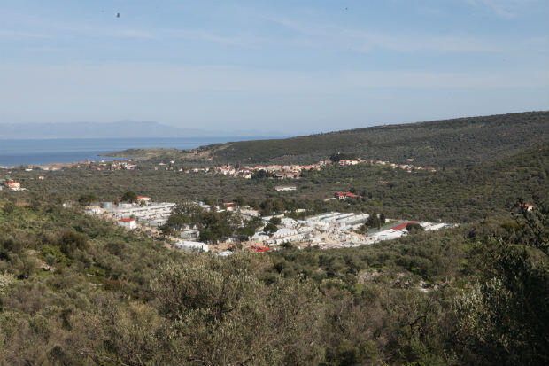Overview of the camp of Moria. Photo: Sarah Leduc / FRANCE 24