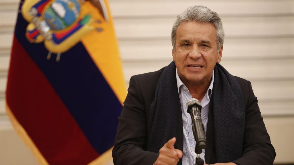 En la imagen un registro del presidente de Ecuador, Lenín Moreno, quien anunció que le solicitó al Banco Mundial (BM) un plan de financiamiento rápido por 500 millones de dólares para atender la difícil situación social provocada por el contagio del Covid-19 en el país sudamericano.