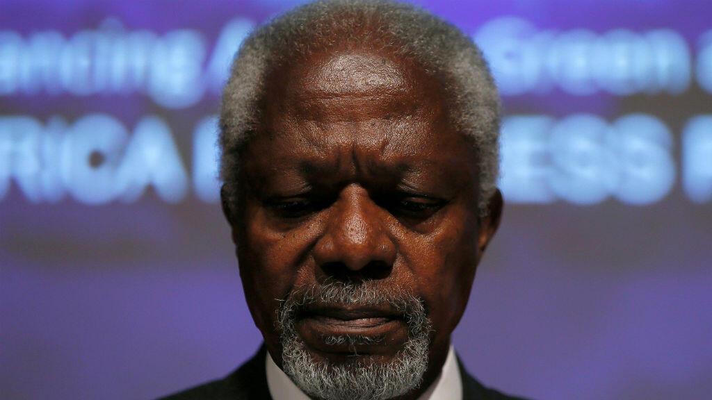 El fallecido premio nobel de paz Kofi Annan durante el lanzamiento del informe de Progreso de África en Londres el 8 de mayo de 2014.