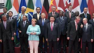 Les leaders du G20 posent pour la traditionnelle photo de groupe à Hangzhou, en Chine, le 4 septembre 2016.